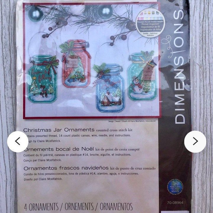 Christmas Jar Ornaments Dimensions Cross Stitch Kit Vintage Etsy In 2020 Stitch Patterns Dimensions Cross Stitch Cross Stitch