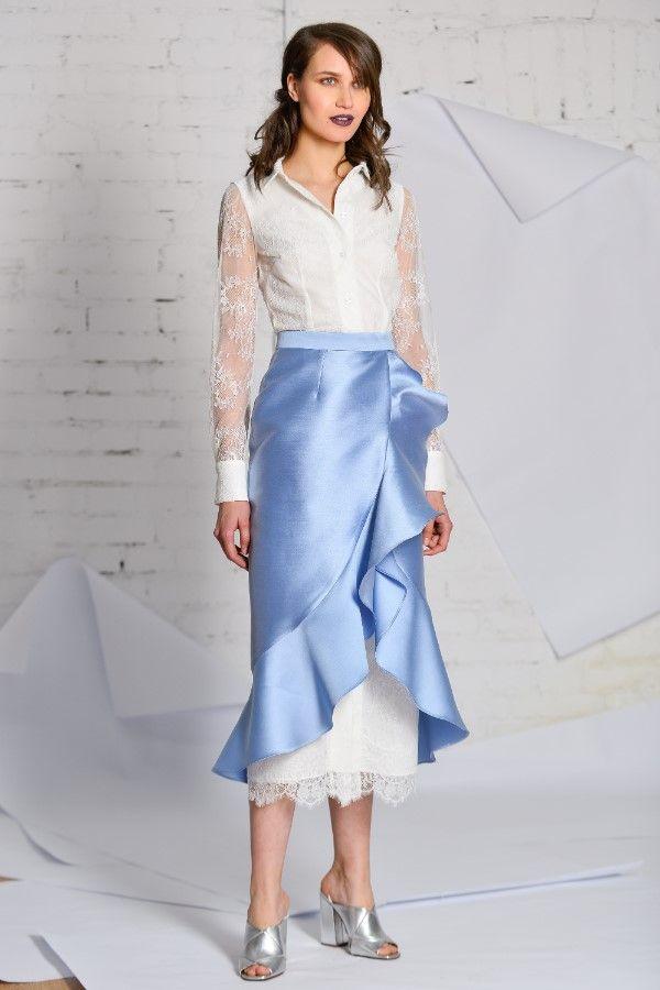 white lace shirt dress Mikado skirt