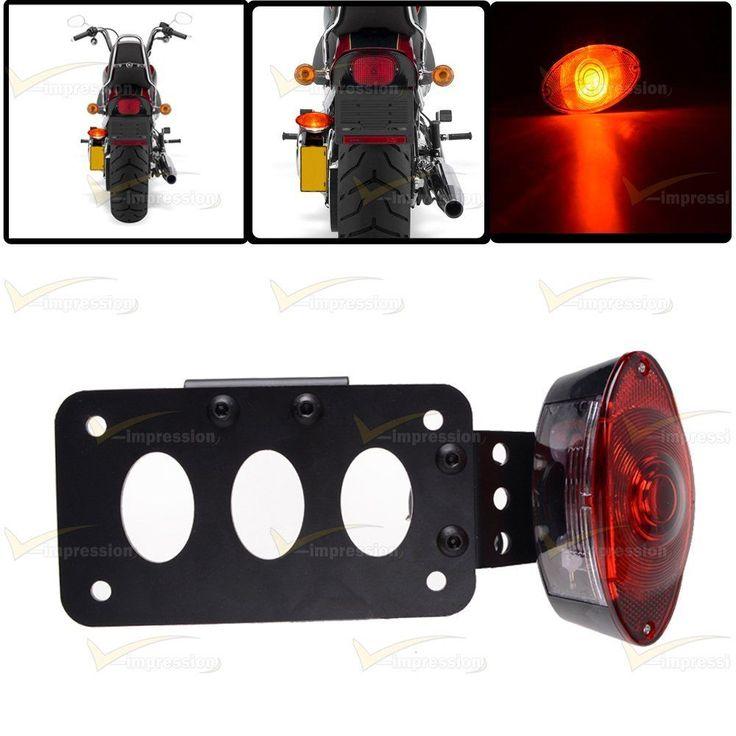 Motorcycle Side Mount License Plate Tail Light Bracket For Custom Bobber Chopper #Vimpression