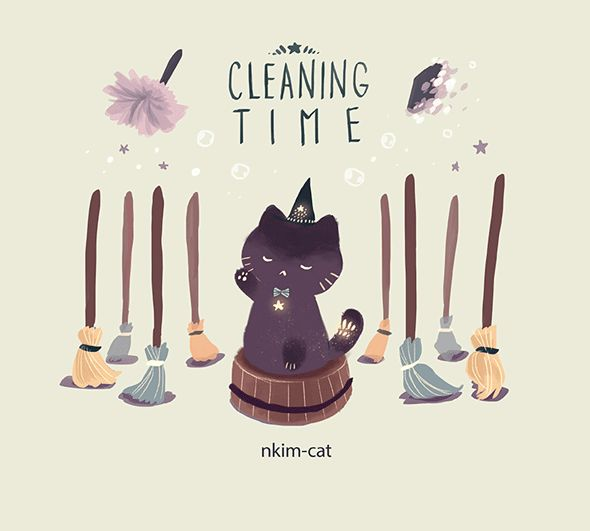 "nkim-doodles: "" Cleaning Time. CAT TWITTER """