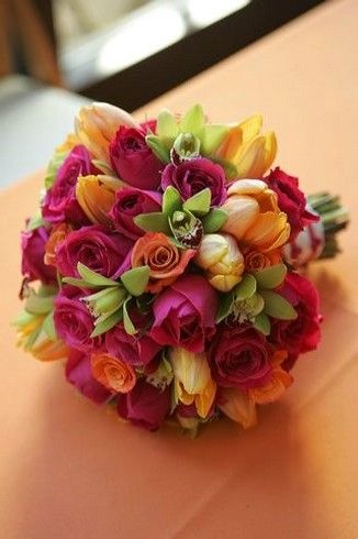 bright wedding flowers   Bright and colorful flowers wedding bouquet picture.jpg