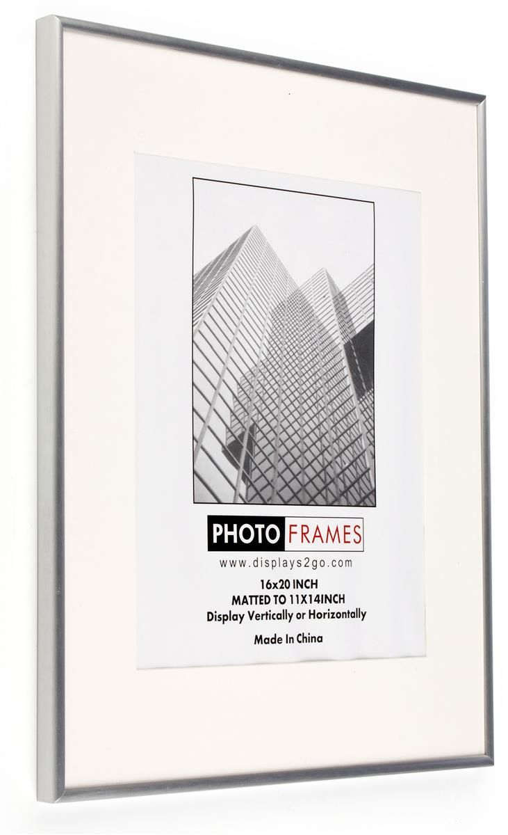 16 x 20 Poster Frame for Wall, Matted to 11 x 14, White Mat, 3/8 ...