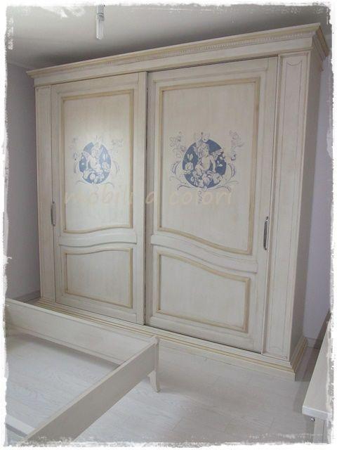 #Camera matrimoniale stile #provenzale con patina decorazione angelo eseguita a mano