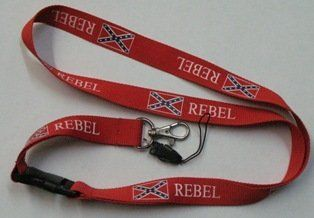 Lanyard Rebel (Confederate Flag) . $5.00. These polyester lanyards, designed to be worn around the neck, measure 3/4 wide and are 20 long. They include a release buckle, metal clip for keys and cell phone / USB string.