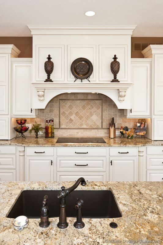 Traditional White Kitchen Cabinets #108 (Kitchen-Design-Ideas.org) I like . . . adding a dark wood floor and/or a contrasting dark wood island!