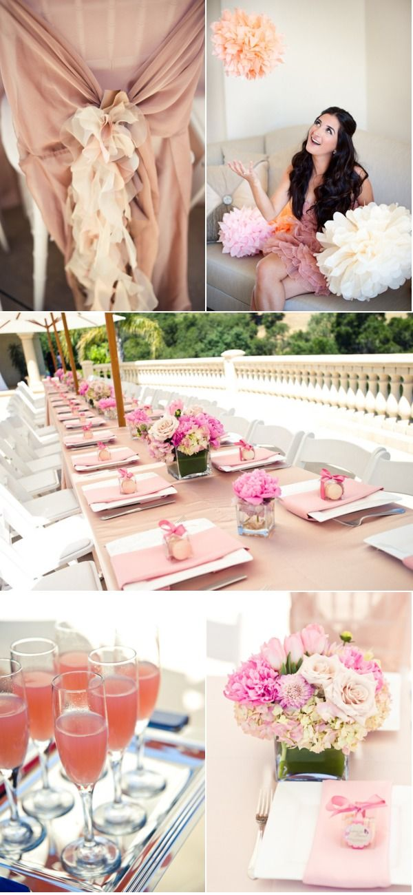 Wedding Shower: Wedding Shower, Tables Sets, Baby Shower Brid, Bridal Shower Ideas, Colors Schemes, Parties Ideas, Chairs Covers, Backyard Bridal Shower, Flower