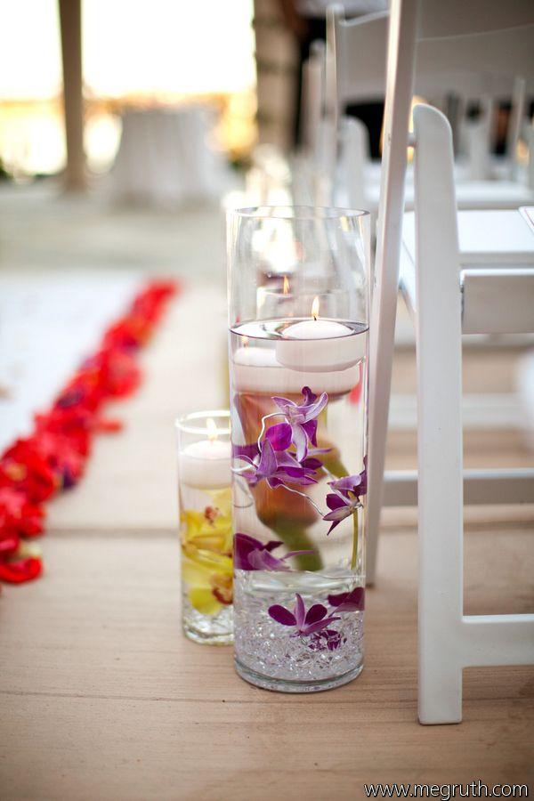 Enchanted Florist Las Vegas- Aisle decor- wedding ceremony- submerged orchids
