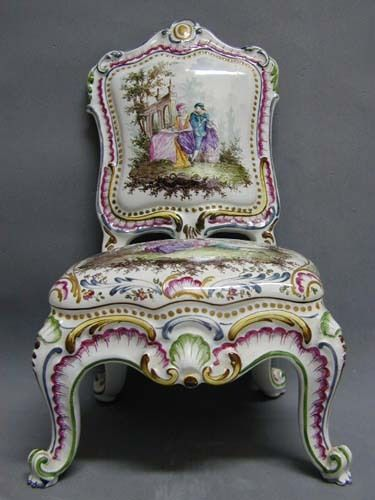 Rare 18th c. antique Italian Figural Capodimonte Chair. Red overglaze fleur-de-lis hallmark (there is also a serial number scratched into the bottom) was c. 1750.: