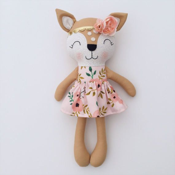 Deer doll - fabric doll  - handmade doll - rag doll - girls room decor - fawn doll - baby gift - cloth doll - woodland nursery - rustic