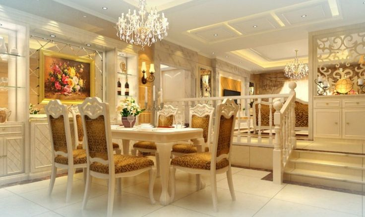 Golden furniture for new classic dining room idea with stylish look.