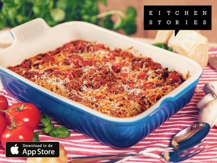 Ik ben aan het koken Gebakken Spaghetti Bolognese met @1KitchenStories - Download de app via http://getkitchenstories.com