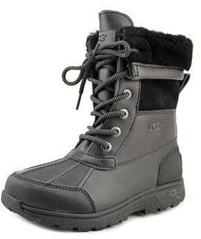 UGG Butte Ii Youth Round Toe Leather Black Snow Boot.