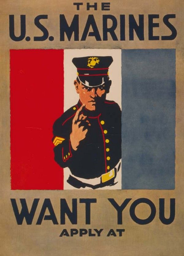 navy and marine corps recruiting poster | Marines Want You