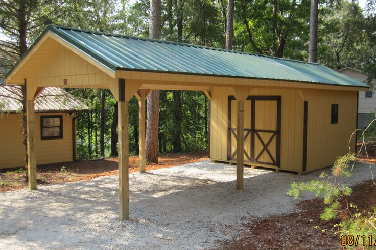 You need a car port with a shed attached? :)  http://www.woodtex.com/storage-sheds.asp