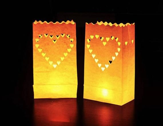 Valentine/'s Day 10 white heart luminary paper lanterns Big Heart Candle Bags