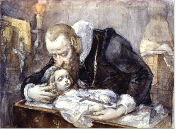 Polish Poet Jan Kochanowski over the dead body of his daughter Urszulka - Jan Matejko 1862.