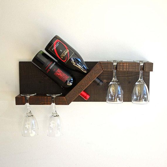 Rustic Wood Wine And Glass Rack Wall Mounted Small Wood Wine