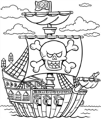 * Piratenschiff Kinder-Malvorlagen Ausmalbilder