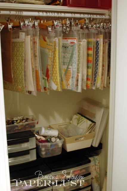 Excellent way to store projects in progress....place in plastic bags and attach plastic bags to hangers... love it!