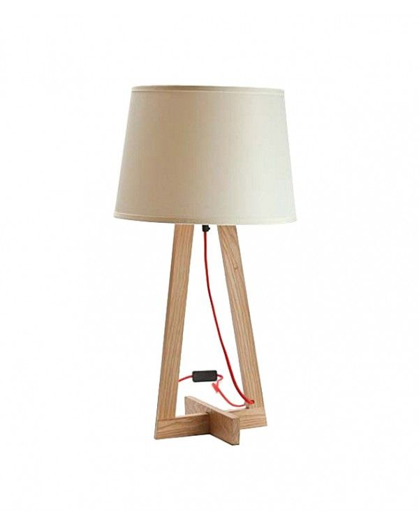 256 Modern Wooden Table Lamp With Cross Base And Triangle Frame Holder