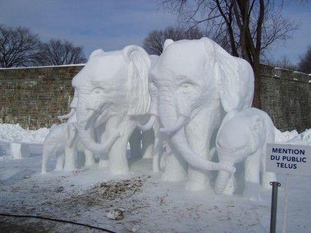 Snow Sculpture - Elephants | Scultura di neve - Elefanti