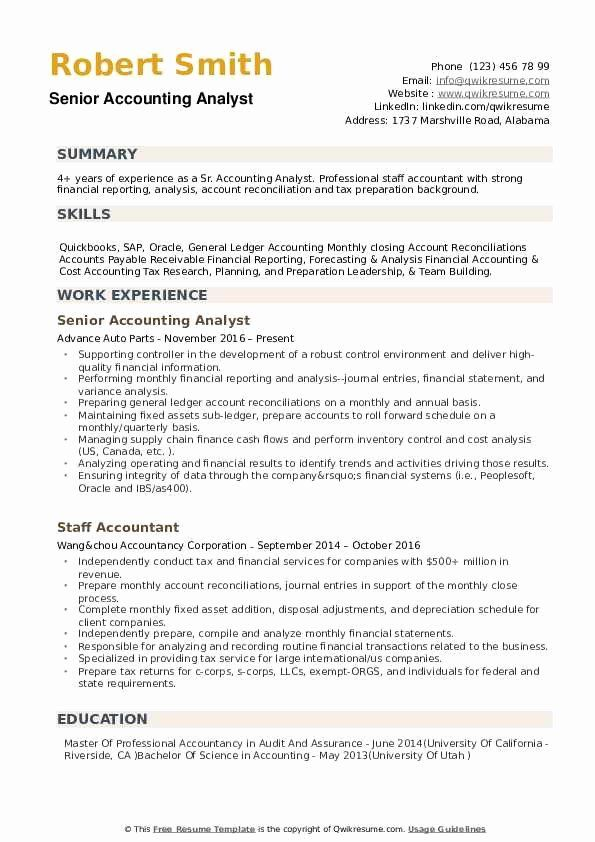 Accountant Resume Sample Pdf Beautiful Senior Accounting Analyst Resume Samples In 2020 Accountant Resume Resume Summary Good Resume Examples