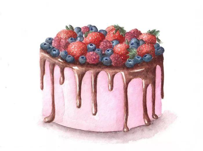 образом, торт рисунок акварелью сторона