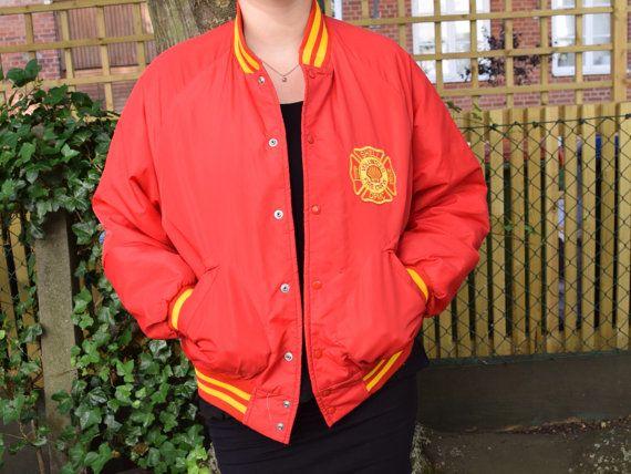 Red vintage baseball jacket Shell EA36 by FamousApe on Etsy