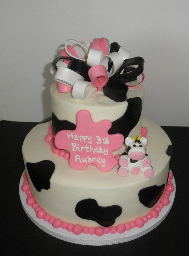 Two Tier Cakes Cow And Hot Pink Black Amp White