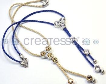 """Collar cordon rayon trenzado, entrepiezas de zamak y chatones de Swarovski Elements.  Coleccion """"LHASA"""""""
