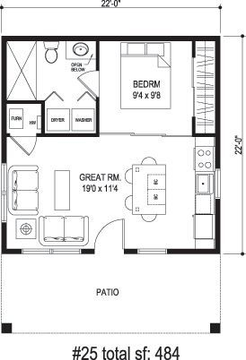 sidekick homes one tree 484 sq ft incredibly efficient layout - 20x20 House Plans Small Pool