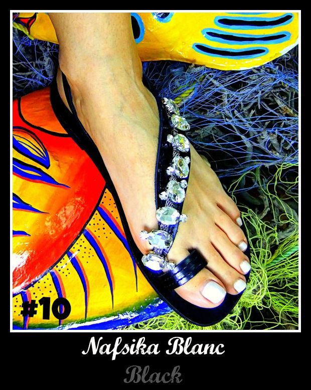 Number 10, Nafsika Blanc (Black). Click the link for more info! http://www.greekinnovativesandals.com/2015/01/nafsika-blanc.html €109.00