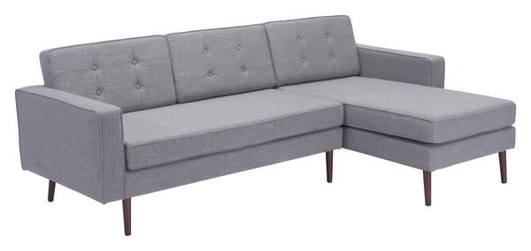 Puget Right Hand Facing Chaise Sectional Sofa in Button Tufted Gray Cotton Linen Blend