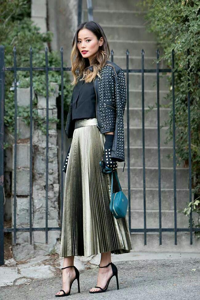edgy | Metallic Pleated Skirt & Turquoise bag.