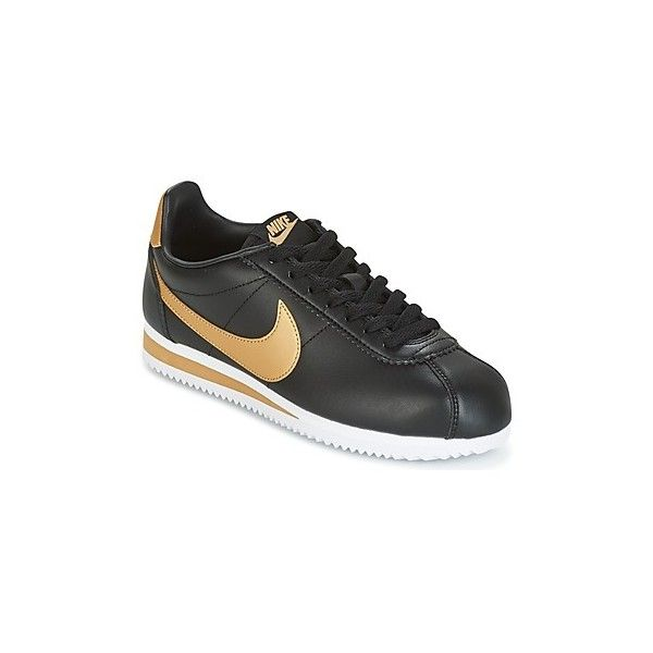 Nike CLASSIC CORTEZ LEATHER W Shoes (23.635 HUF) ❤ liked on Polyvore featuring shoes, black, nike footwear, sports footwear, black low top shoes, nike and black sport shoes