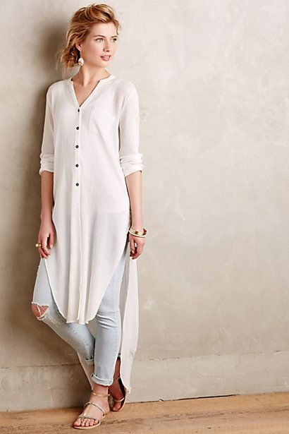 *A little too long, but the ratio of front to back drape looks great. Dramatic and flowy. Buttondown Gauze Tunic #anthropologie