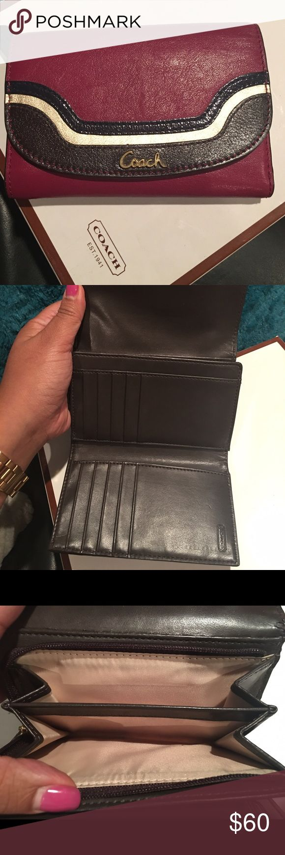 COACH authentic medium trifold wallet This is a sold out color in fuschia, brown, gold and navy blue wallet. Used for about a month- virtually mint. No stains, scratches or dirt. Please contact me with any questions. Thanks! Coach Bags Wallets