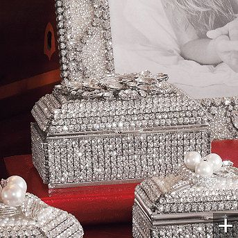 Isabella Adams® Crystal Keepsake Box sparkles with dozens of hand-set Swarovski crystals. A plush velvet lining protects jewelry and other valuables from scratching.