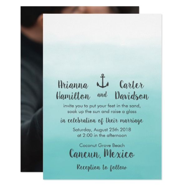 Ombre Beach Destination Ocean Anchor Photo Wedding Card Customizable Invitations #beach #summer #wedding #invitation