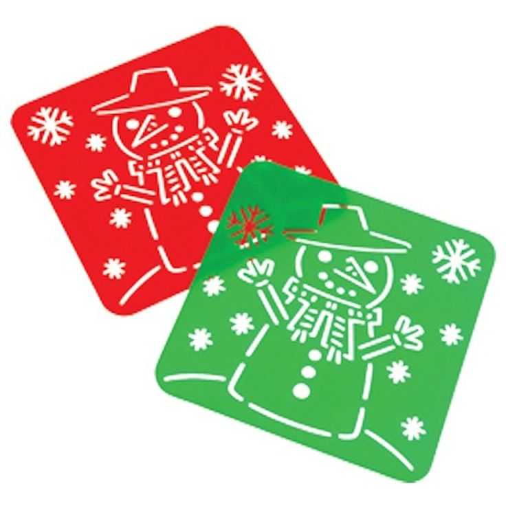 "Amazon.com: Lot Of 12 Assorted Red & Green Christmas Snowman Theme Plastic Stencils - 4.25"": Toys & Games"