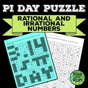 Pi Day Activity Puzzle - Rational and Irrational Numbers, Middle and High School Math March 14!