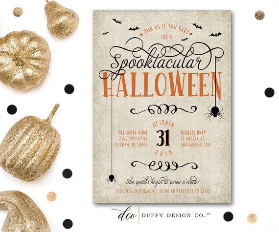 Halloween Invitation, Spooktacular Halloween Invitation, Adult Halloween Party Invite, Spooky Gothic Halloween Invite, Black, PRINTABLE 5x7