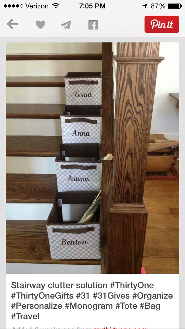 Stair organization- need these! Thirty-one storage cubes  www.mythirtyone.com/KimberlyGibbs