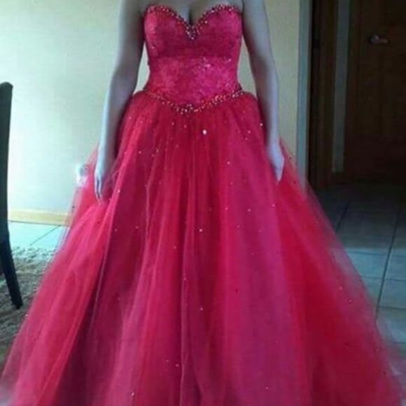 Mori Lee Prom Dress Red Mori Lee, size 8 lace up, will fit a couple sizes up and down. Absolutely stunning, and very elegant! No rips, stains, or years. It is in perfect condition. There were no alterations done so it still have original length. I am 5'7 and wore 4 inch heels and the length was perfect, so there's plenty to be altered. Mori Lee Dresses Strapless