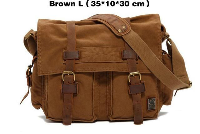 2017 Canvas Leather Messenger Bags Men Vintage Military Army Crossbody – Wallets & Bags