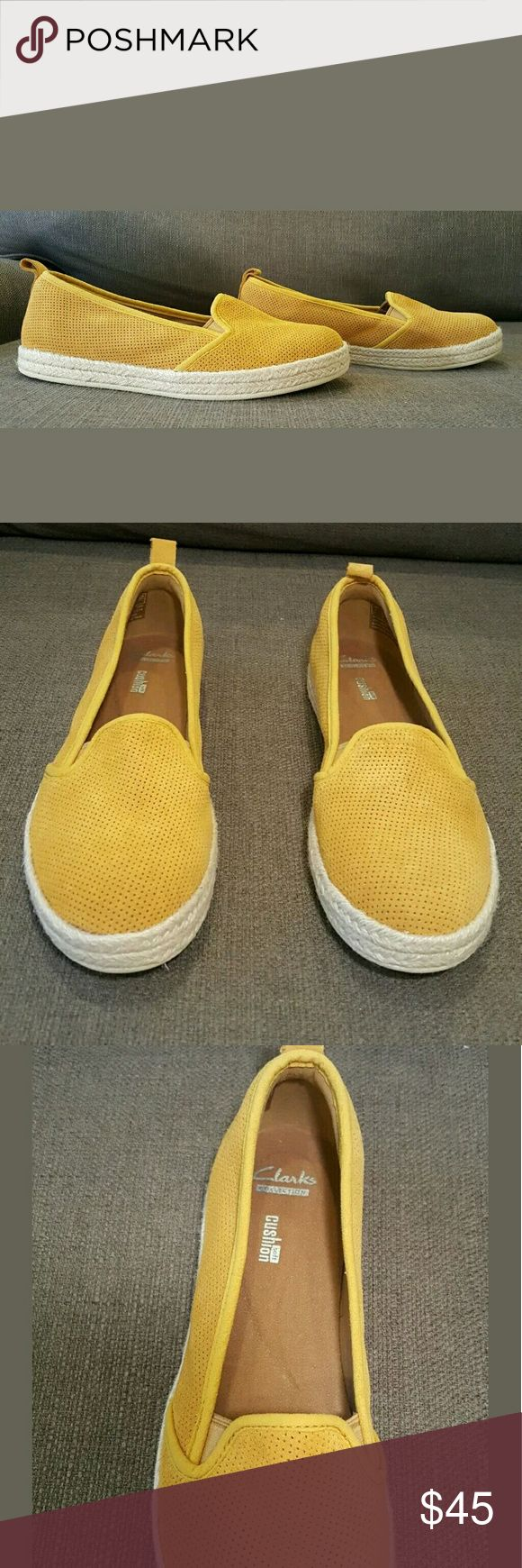 CLARKS Azella major Womens Yellow Espadrille 8.5 NEW Clarks Cushion Yellow/Mustard Espadrille. Suede upper and sole rubber. Clarks Shoes Espadrilles