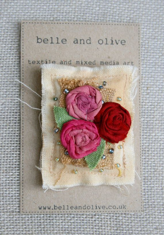 Textile Brooch shabby tattered romantic roses by belleandolive
