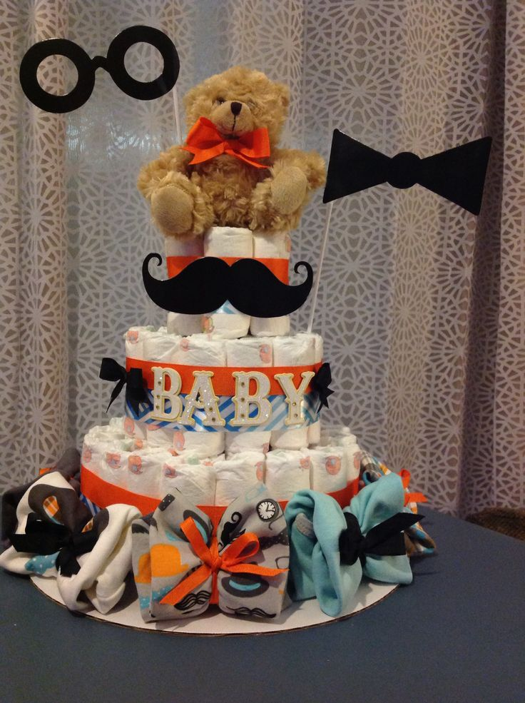 Bow Tie And Mustache Baby Boy Diaper Cake Diaper