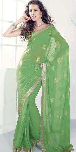#Green Faux Georgette Saree ... #dress , #woman