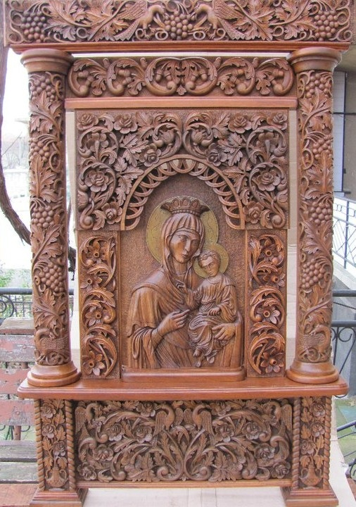 Carved Icon of Blessed Mother